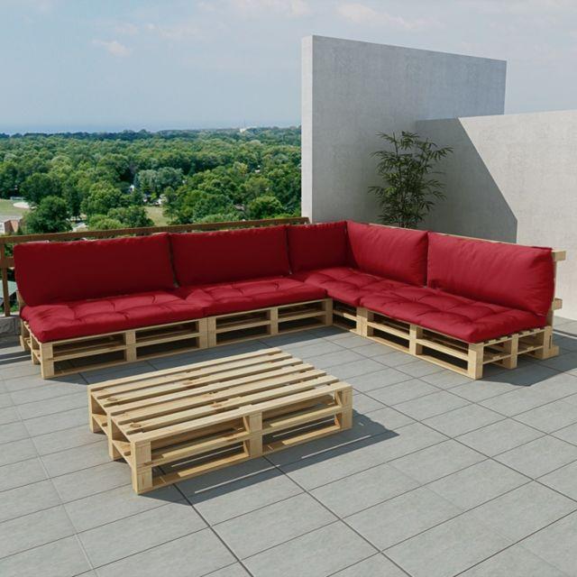 Maja+ - Salon de jardin 15 pcs en palette avec coussins rouge - pas ...