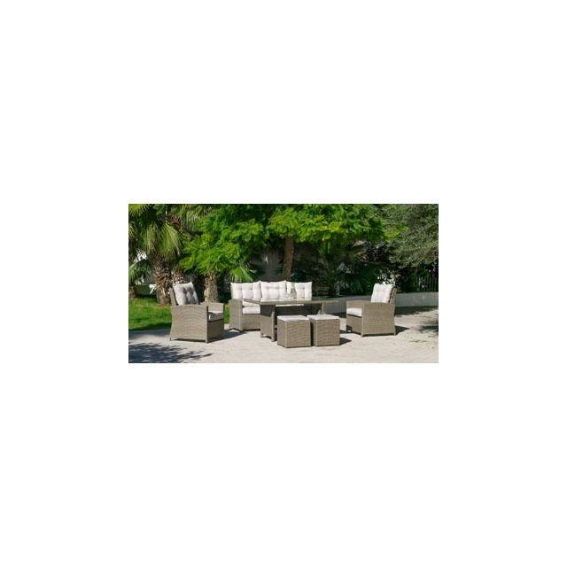 Hevea Salon De Jardin Sofa A Manger Novar en Acier Resine tressee beige marron Coussins couleur Anais Blanc Hev31890
