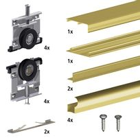 Slid'UP By Mantion - Kit Slid'UP 210 aluminium anodisé or pour 2 portes de placard coulissantes 16 mm - rail 1,8 m - 70 kg