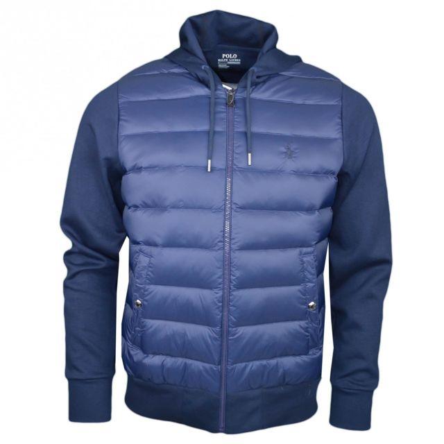 Ralph Lauren - Veste bi-matière bleu marine logo ton sur ton pour homme - pas  cher Achat   Vente Blouson homme - RueDuCommerce 7acec8fc3d2