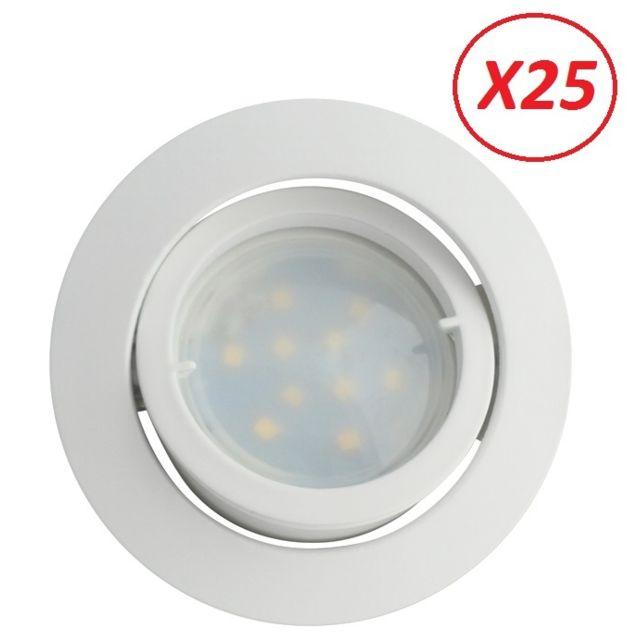 Lampesecoenergie Lot de 25 Spot Led Encastrable Complete Blanc Orientable lumiere Blanc Neutre eq. 50W ref.888