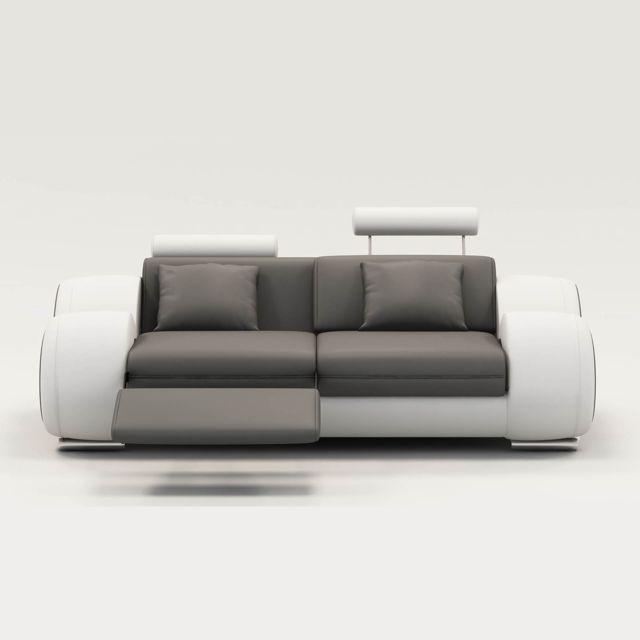 Canapé Design 2 Places Relax Cuir Gris Et Blanc Appuis Têtes Tokyo
