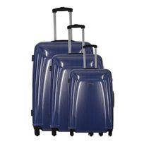Travel One - Set de 3 Valises Rigide Polycarbonate 4 Roues S-m-l Barite Bleu