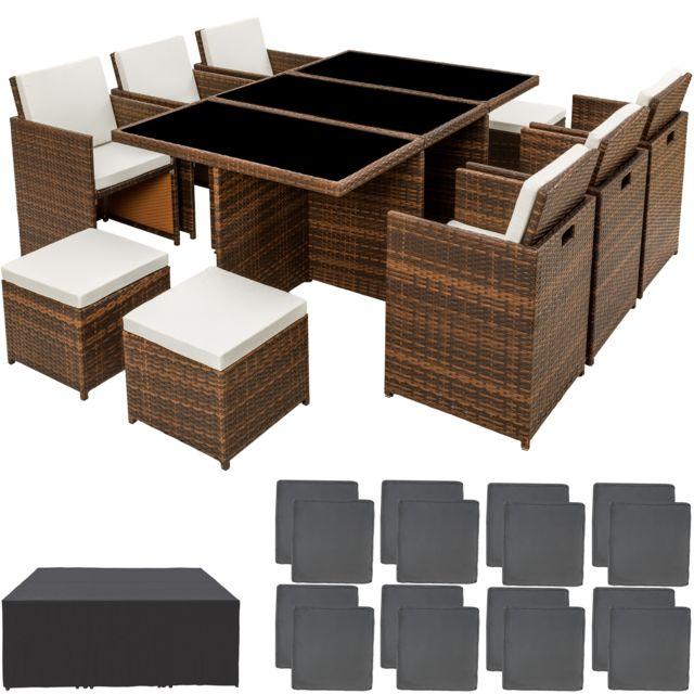 Salon de jardin NEW YORK Résine Tressée Structure Aluminium 6 Chaises 4  Tabourets 1 Table Marron