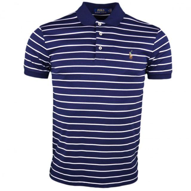 3301360cc0c47e Ralph Lauren - Polo jersey rayé bleu marine et blanc logo multicolore slim  fit pour homme - pas cher Achat   Vente Polo homme - RueDuCommerce
