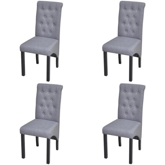 Vidaxl - 4 Chaises en tissu d\'ameublement pour salle à manger Gris ...