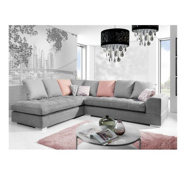 CHLOE DESIGN Canapé d'angle design AFIA - Gris - Angle gauche