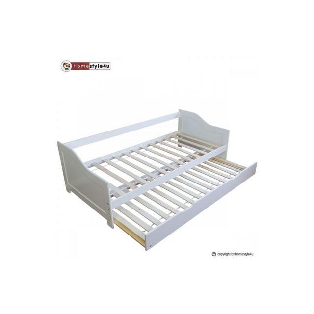 Homestyle4U Lit Simple Blanc 90x200 avec tiroir lit