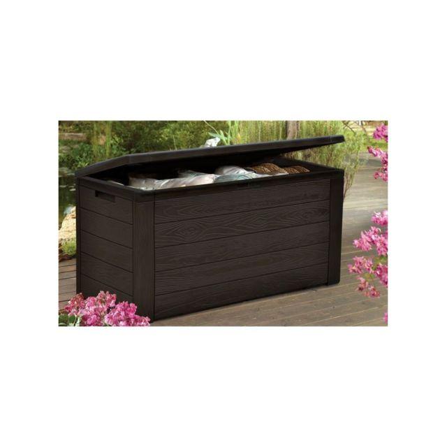 tood malle de rangement en r sine 300 l marron aspect bois 120 x 46 x 58 cm pas cher. Black Bedroom Furniture Sets. Home Design Ideas