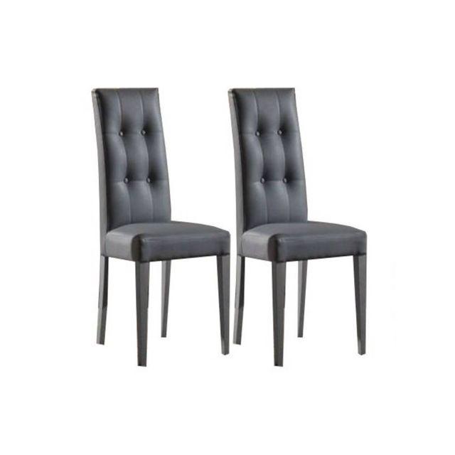 Inside 75 Lot de 2 chaises design italienne Four Seasons en tissu enduit polyuréthane simili façon cuir