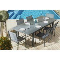 Squareline - Salon de jardin 8 places en aluminium et composite : 1 ...