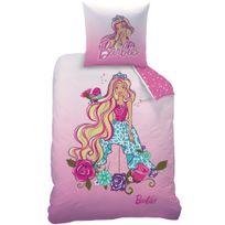 Barbie - Housse de couette et taie d'oreiller 140x200 cm Flowers 100% Cotton