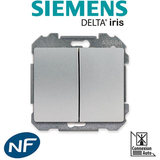Siemens - Double Poussoir Alu Silver Delta Iris