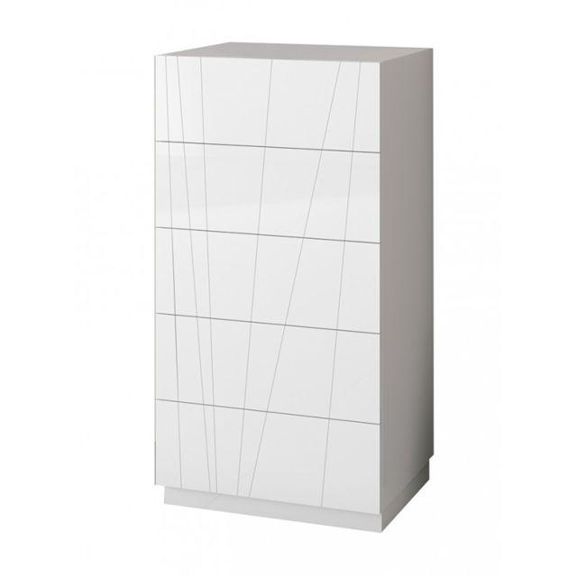 Chiffonnier 5 tiroirs en bois laqué blanc Alida - L 60 x l 47 x H 115