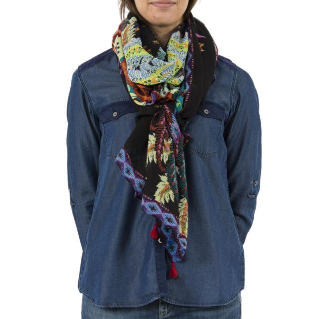Desigual - Foulards 18waww03 feather noir - pas cher Achat   Vente Echarpes,  foulards - RueDuCommerce e85925cc72e
