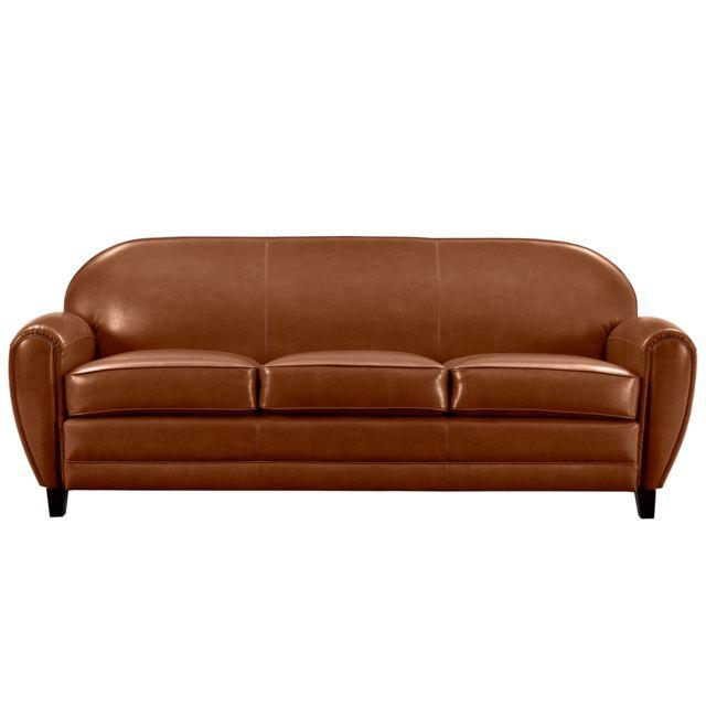 rendez vous deco canap club 3 places camel achat. Black Bedroom Furniture Sets. Home Design Ideas