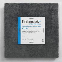 Finlandek - Bain - Finlandek Set de 2 Draps de douche 70x140 cm + 1 serviette de toilette 50x100 cm Kylpy anthracite