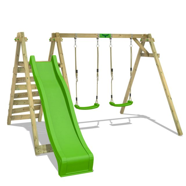 Portique De Balançoire Jollyjay Fast Xxl Avec Balançoire Double Pour Enfants Toboggan Et Structure D Escalade