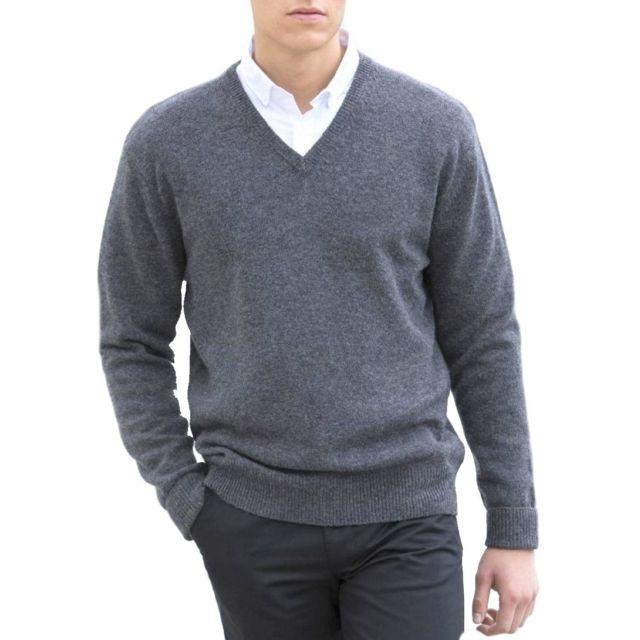 Fashion Cuir Pull Laine col V Couleur - gris, Taille Homme - L