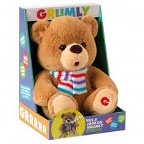 Hellocadeau - Peluche Ours Grumly Sonore 30 cm