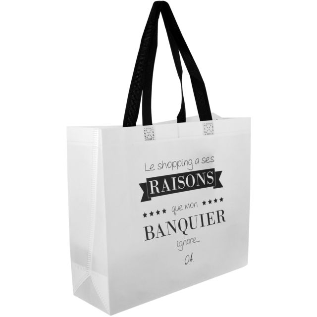 dfde5f1c3f ... Promobo - Sac Pour Course Shopping Cabas Citation Le Shopping A Ses  Raisons Blanc ...