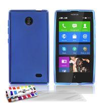 "Muzzano - Coque Souple Ultra-Slim ""Le Glossy Hybrid"" Bleu pour Nokia X Dual Sim + 3 Films de protection ?cran"