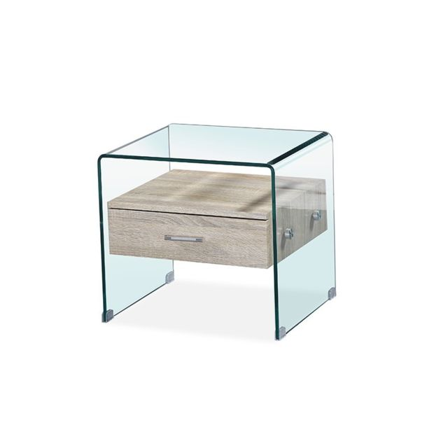 Meubler Design Table de chevet en verre Elsa - Hêtre