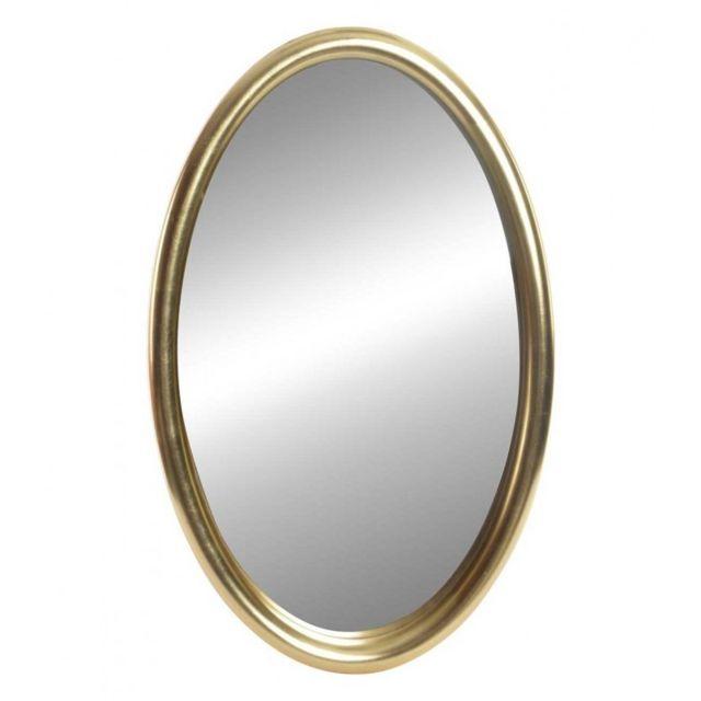 Wadiga Miroir Classique Ovale en Résine Dorée