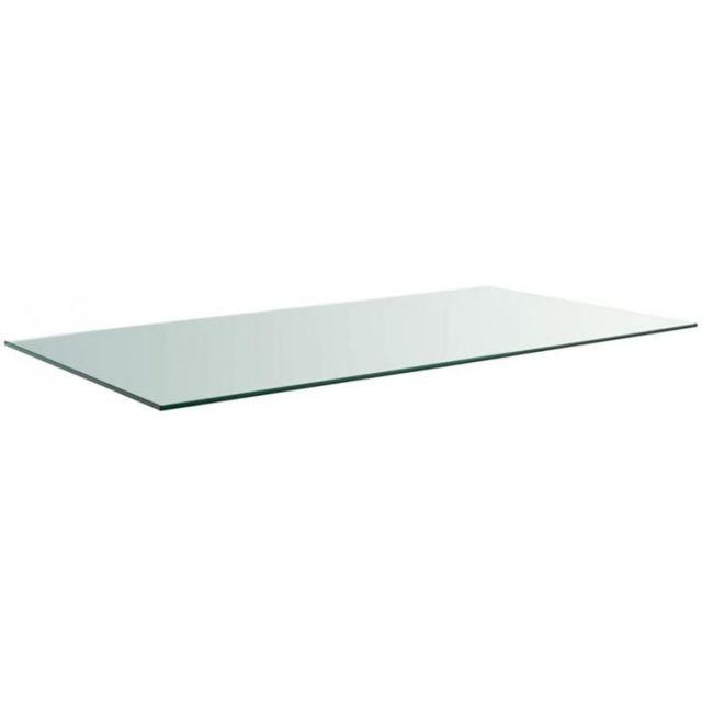 Meubletmoi Plateau rectangulaire 100x80 en verre trempé transparent