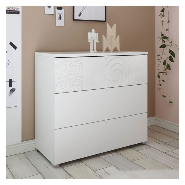 Dansmamaison Commode 3 tiroirs Blanc - Fiori - L 104 x l 45 x H 80 cm