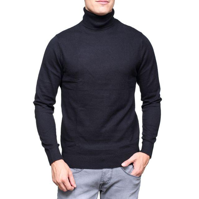 1e6b3f2ea1ba Calvin Klein - Pull habillé J30j305474 Col Roule 099 Noir - pas cher Achat    Vente Pull homme - RueDuCommerce
