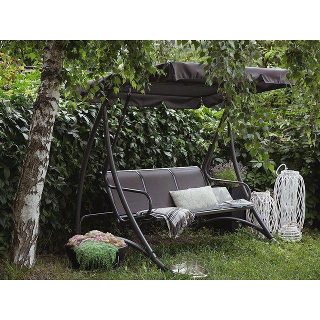 Beliani Balancelle de jardin - balancelle en métal et tissu gris - Bogart