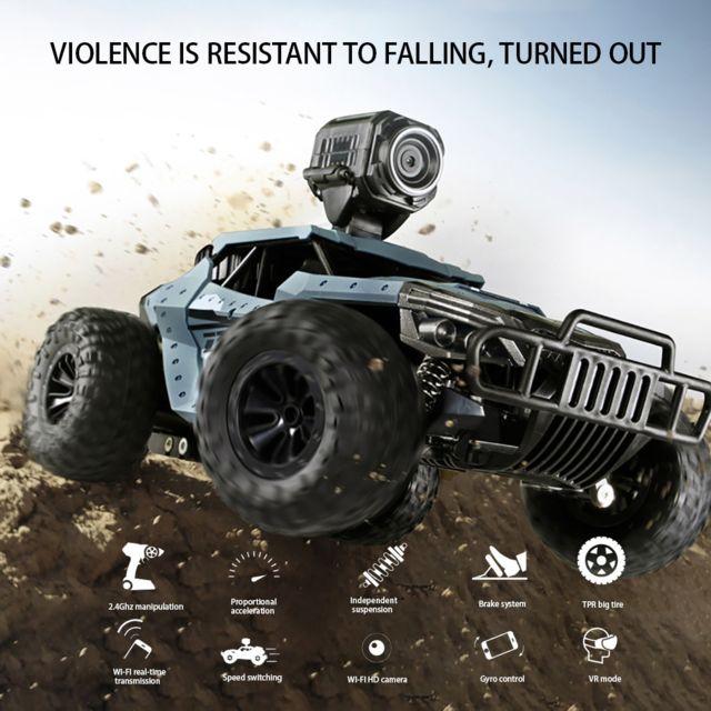 Generic Télécommande haute vitesse 4 roues motrices voiture tout-terrain Hd caméra camion enfants jouets - Bleu
