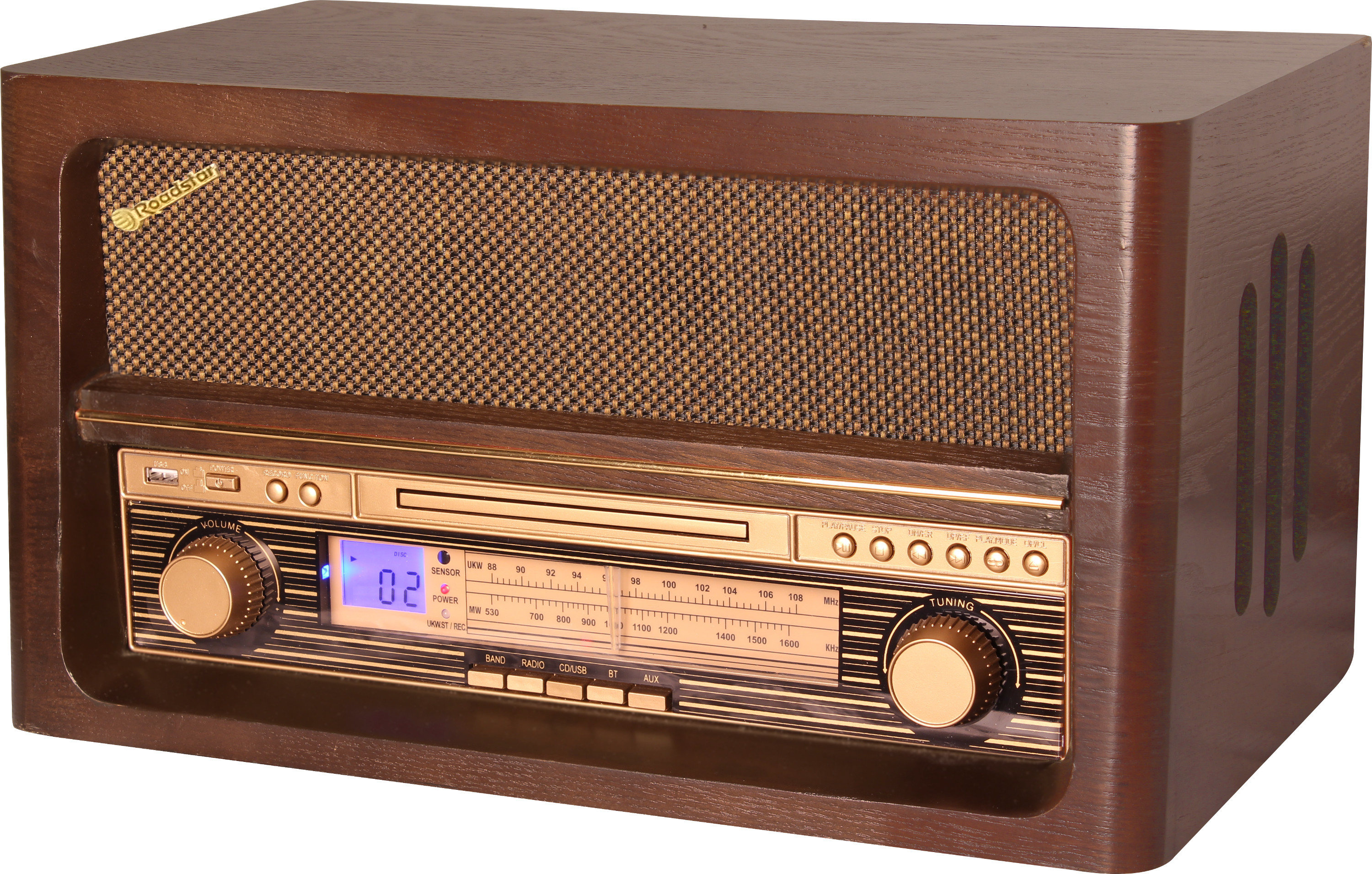 roadstar radio retro vintage ebenisterie bois bluetooth. Black Bedroom Furniture Sets. Home Design Ideas