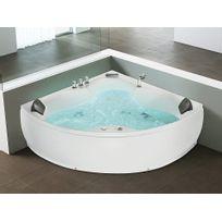 Beliani - Baignoire d'angle balnéo / Whirlpool SENADO - hydromassage & chromothérapie