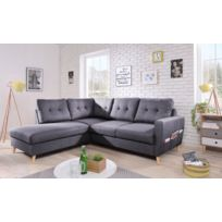 bobochic canap scandi 6 places et convertible angle gauche gris - Convertible Angle