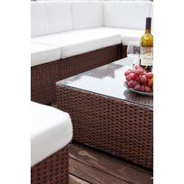 mobilier jardin resine tressee blanc - Achat mobilier jardin ...
