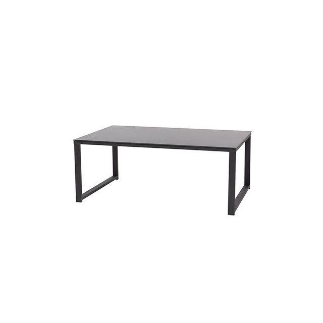 Table basse L80xP50xH32cm en métal et verre noir