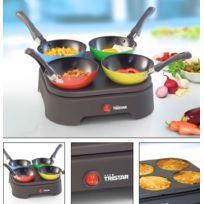 Tristar - Ensemble de 4 mini woks et crêpes individuelles - Pour une cuisine festive