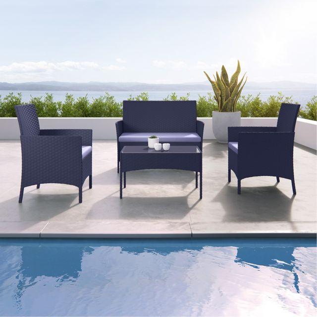 Imora - Salon de jardin résine tressée Noir/Gris - ensemble 4 places -  Canapé + Fauteuil + Table