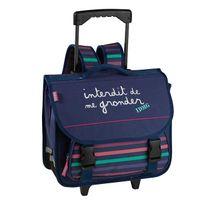 Interdit De Me Gronder - Cartable à roulettes 38cm 2 compartiments Bleu à rayures roses
