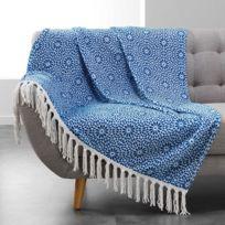 Douceur D'INTERIEUR - Plaid à franges flanelle Tunis 125x150 cm indigo