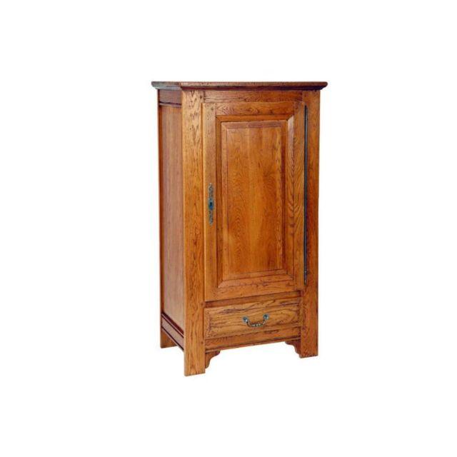 Inside 75 Bonnetière Fleurette en chêne 1 porte avec1 tablette amovible et 1 tiroir de style campagnard