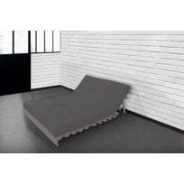 Lovea - Matelas Futon Coton gris clair 140x190 Fabrication Française - Fait Main