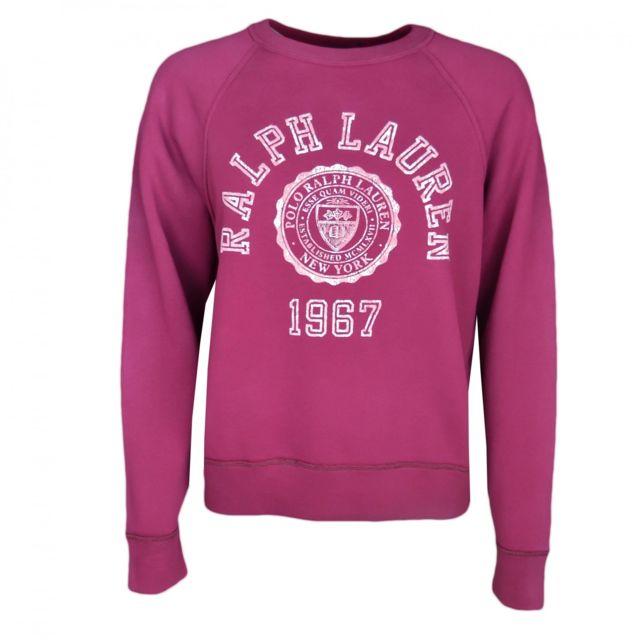 Ralph Lauren - Sweat col rond College rouge bordeaux pour femme Violet - pas  cher Achat   Vente Sweat femme - RueDuCommerce b43c59d85648