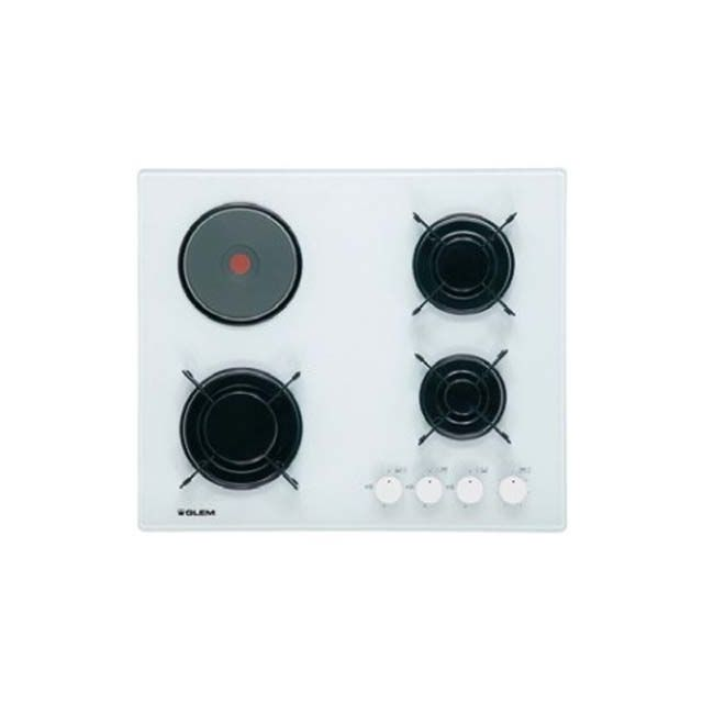 glem table cuisson mixte gaz electrique verre gv647wh gv. Black Bedroom Furniture Sets. Home Design Ideas