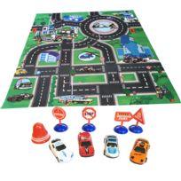 Touslescadeaux - Tapis de Jeu Voiture Enfant Police - 80 cm x 70 cm - 4 Voitures miniature + panneaux