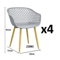 Zons - Tango Lot de 4 Fauteuil chaise salle a manger en métal avec assise en Pp Gris 57x63xH81cm