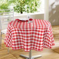 Decor Ligne - Nappe de table ronde Ø160cm Vichy rouge en toile cirée