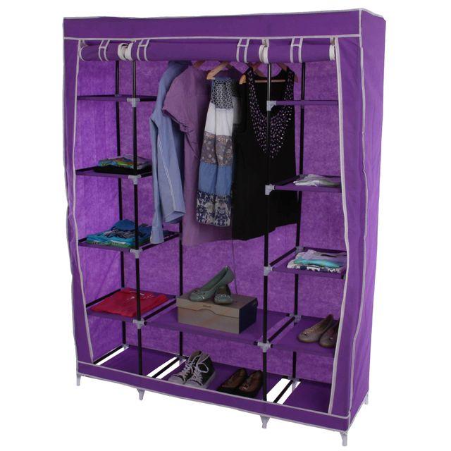 Mendler - Armoire pliable, penderie de camping, garde-robe en tissu, 173x135x45cm ~ lilas Violet - 135cm x 135cm x 173cm